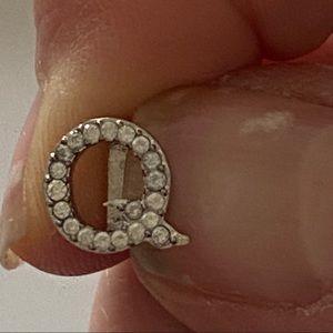 Henri Bendel Letter Q Silver Charm w/faux Stones